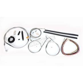 LA Choppers Stainless Braided Handlebar Cable and Brake Line Kit for Use w/12 in. - 14 in. Ape Hangers (Single Disc) (w/o ABS) - LA-8320KT2A-13