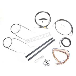 LA Choppers Black Vinyl Handlebar Cable and Brake Line Kit for Use w/18 in. - 20 in. Ape Hangers (Single Disc) (w/o ABS) - LA-8320KT2A-19B
