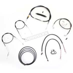 LA Choppers Black Vinyl Handlebar Cable and Brake Line Kit for Use w/Cafe Ape Hangers - LA-8320KT2B-0CB