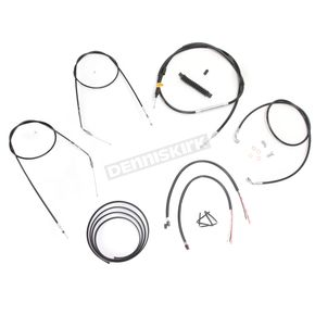 LA Choppers Black Vinyl Handlebar Cable and Brake Line Kit for Use w/12 in. - 14 in. Ape Hangers (Single Disc) w/o ABS - LA-8320KT2B-13B