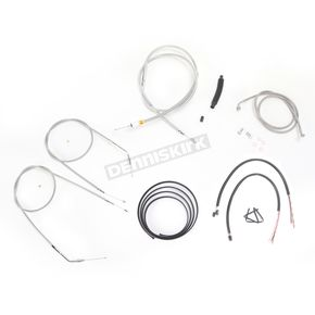 LA Choppers Stainless Braided Handlebar Cable and Brake Line Kit for Use w/15 in. - 17 in. Ape Hangers (Single Disc) w/o ABS - LA-8320KT2B-16