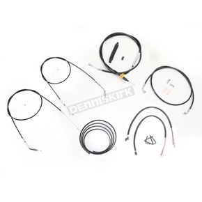 LA Choppers Black Vinyl Handlebar Cable and Brake Line Kit for Use w/18 in. - 20 in. Ape Hangers (Single Disc) w/o ABS - LA-8320KT2B-19B