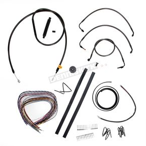 LA Choppers Midnight Stainless Handlebar Cable and Brake Line Kit for Use w/18 in. to 20 in. Ape Hangers w/o ABS - LA-8010KT2-19M
