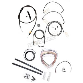 LA Choppers Midnight Stainless Handlebar Cable and Brake Line Kit for Use w/18 in. to 20 in. Ape Hangers (w/ABS) - LA-8051KT2-19M
