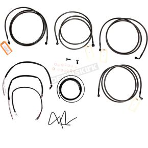 LA Choppers Midnight Stainless Handlebar Cable and Brake Line Kit for Use w/18 in. to 20 in. Ape Hangers w/ABS - LA-8052KT2-19M