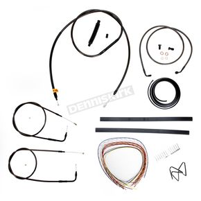 LA Choppers Midnight Stainless Handlebar Cable and Brake Line Kit for Use w/Mini Ape Hangers w/o ABS - LA-8110KT2A-08M