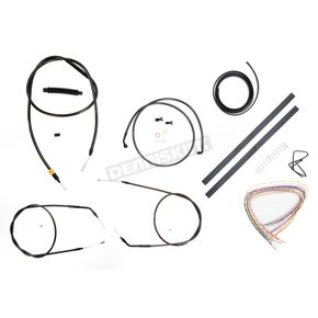 LA Choppers Midnight Stainless Handlebar Cable and Brake Line Kit for Use w/15 in. to 17 in. Ape Hangers (w/o ABS) - LA-8300KT2-16M
