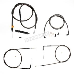 LA Choppers Midnight Stainless Handlebar Cable and Brake Line Kit for Use w/18 in. to 20 in. Ape Hangers (w/o ABS) - LA-8130KT-19M