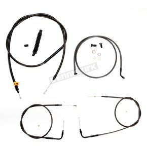 LA Choppers Midnight Stainless Handlebar Cable and Brake Line Kit for Use w/18 in. to 20 in. Ape Hangers (w/o ABS) - LA-8210KT-19M