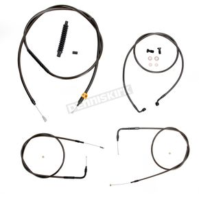 LA Choppers Midnight Stainless Handlebar Cable and Brake Line Kit for Use w/12 in. to 14 in. Ape Hangers (w/o ABS) - LA-8220KT-13M