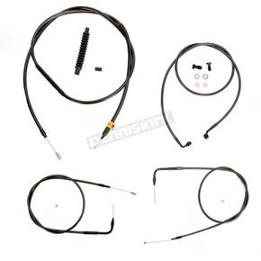 LA Choppers Midnight Stainless Handlebar Cable and Brake Line Kit for Use w/18 in. to 20 in. Ape Hangers (w/o ABS) - LA-8220KT-19M