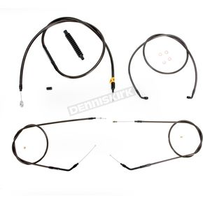 LA Choppers Midnight Stainless Handlebar Cable and Brake Line Kit for Use w/Mini Ape Hangers (w/o ABS) - LA-8310KT-08M