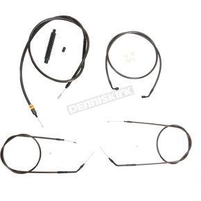 LA Choppers Midnight Stainless Handlebar Cable and Brake Line Kit for Use w/15 in. to 17 in. Ape Hanger (w/o ABS) - LA-8320KT-16M