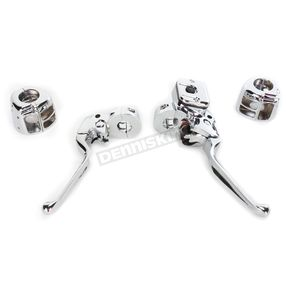 Custom Chrome Chrome Smooth Contour Complete Control Kit W/ 9/16 in. Bore Master Cylinder For Single Disc Models - 627704