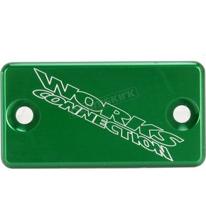 Works Connection Green Anodized Billet Aluminum Front Brake Reservoir Cover - 21-128
