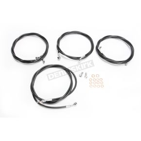 LA Choppers Black Vinyl/Stainless Standard Handlebar Cable and Brake Line Kit For Use w/Mini Ape Hangers w/ABS - LA-8054KT-08B