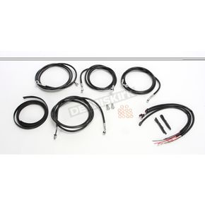 LA Choppers Black Vinyl/Stainless Braided Complete Handlebar Cable and Brake Line Kit For Use w/12