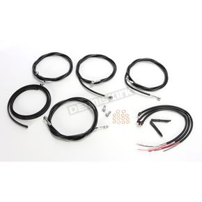 LA Choppers Black Vinyl/Stainless Steel Complete Handlebar Cable and Brake Line Kit For Use w/18