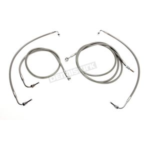 LA Choppers Standard Stainless Braided Handlebar Cable and Brake Line Kit for use w/12