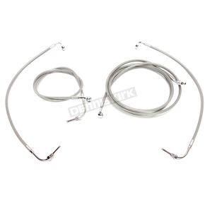 LA Choppers Complete Stainless Braided Handlebar Cable and Brake Line Kit for use w/12