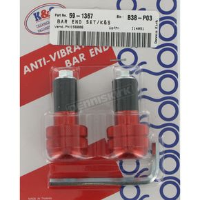 K & S Red Anti-Vibration Finish Bar Ends - 15-6006