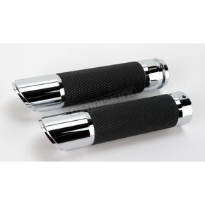 Drag Specialties Billet Twin Slash Grips w/ Interchangeable End Caps - 0630-0748