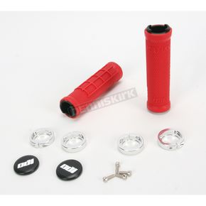 ODI Red ATV Ruffian Half Waffle Lock-On Grips - J32RFRS