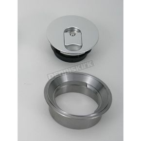Custom Cycle 3 in. Vented Flush Mount Gas Cap w/Weld-In Steel Non-Locking Bung - CCE9600VS