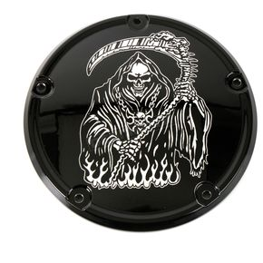 Black Grim Reaper Low Profile Derby Cover - SKUL18-67BG