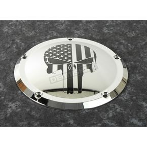 Chrome Black Stars and Stripes Punisher Low Profile Derby Cover - PATR22-46