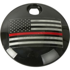 Black Red Line American Flag Fuel Door Cover - FF12-13BG