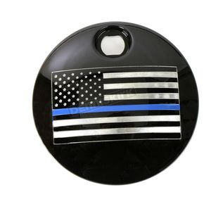 Black Blue Line American Flag Fuel Door Cover - LE03-13BG