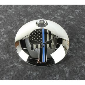 Chrome Blue Line Skull Fuel Door Cover - LE04-13