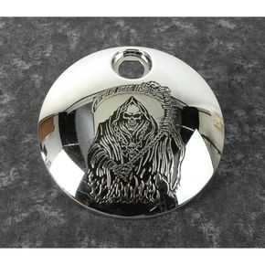 Chrome Grim Reaper Fuel Door Cover - SKUL18-13