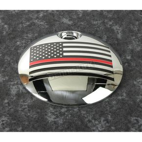 Chrome Red Line American Flag Fuel Door Cover - FF12-13