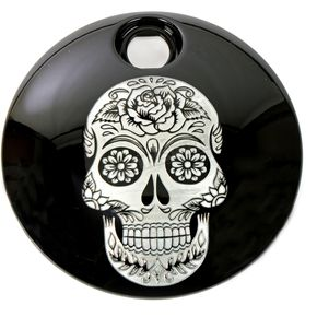Black Sugar Skull Fuel Door Cover - SSKUL-13BG