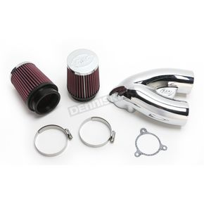 S&S Cycle Chrome Single Bore Tuned Induction Air Cleaner Kit w/ Red Filter - 170-0311A