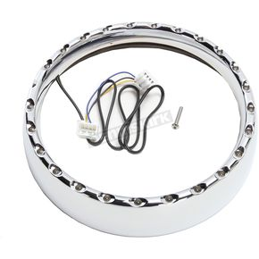 Chrome/White  7 in. LED Halo Headlight Trim Ring - CDTB-BAT-W-C