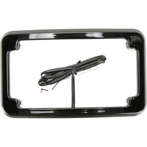 Black Powdercoated Beveled License Plate Frame w/Lights - CV4617B