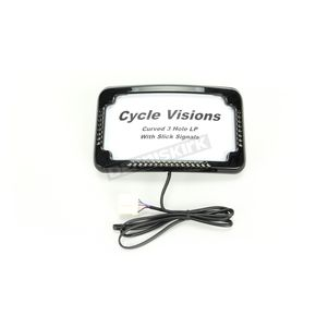 Black  Slick Signal License Plate Frame  and Curved 3-Hole Mount - CV4640B