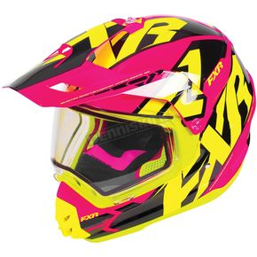 FXR Racing Fuchsia/Hi-Vis/Black Torque X Core Helmet w/Electric Shield - 180610-9065-04
