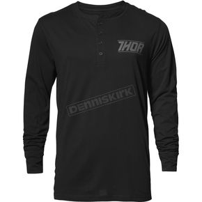Thor Mens Black Corp Henley Long Sleeve Shirt - 3030-16103