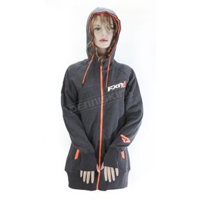 FXR Racing Women's Charcoal Heather/Electric Tangerine Vertical Long Hoody - 171416-0835-19