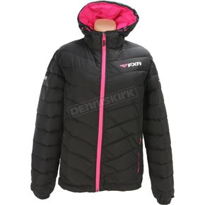 FXR Racing Women's Black/Electric Pink Elevation Down Jacket - 170218-1094-18