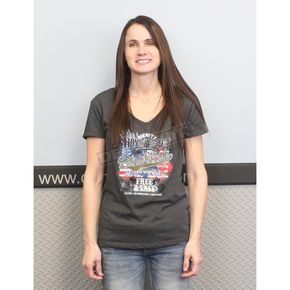 Dennis Kirk Inc. Charcoal Heather Gray 2017 Patriot Ride Womens V-Neck T - 8650-2X