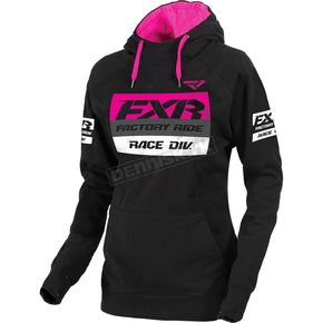 FXR Racing Women's Black/Fuchsia Race Division Pullover Hoody - 173326-1090-10
