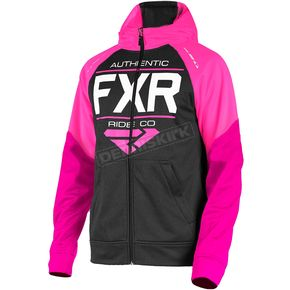 FXR Racing Youth Black/Fuchsia Ride Tech Hoody - 181505-1090-16