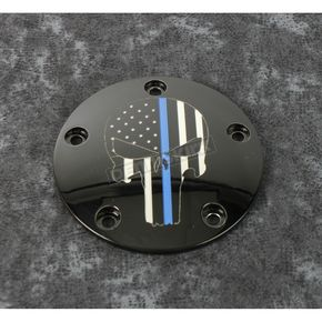 Black Blue Line Skull Timing Cover - LE04-04BG