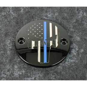 Black Blue Line Skull Timing Cover - LE04-63BG