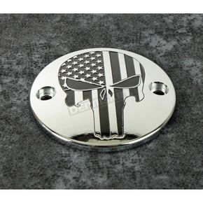 Chrome Black Stars and Stripes Punisher Timing Cover - PATR22-63